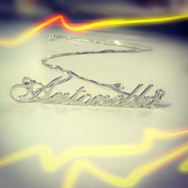 #Antonella #collana #nome #argento #artigianale #name #nomination #pendant #silver #handmade #jewels #goldsmith #artistic #fashion