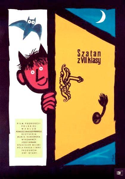 """Polish Movie Poster by Jerzy Flisak, 1961, """"Szatan z VII klasy"""" dir. by M…"""