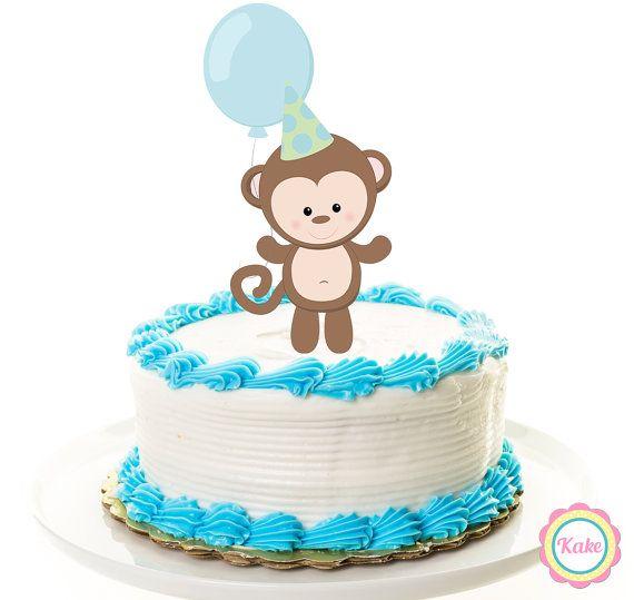 Baby shower cake topper monkey animal safari by ConfettiKake