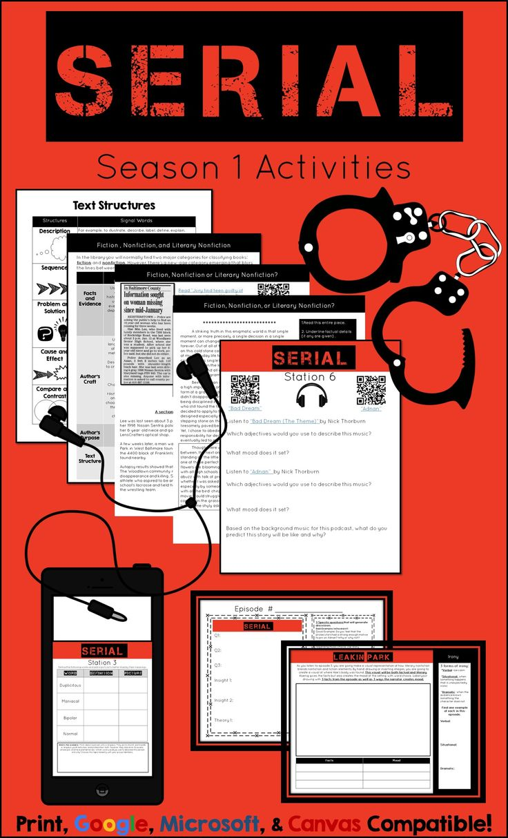 Serial Season 1 Activity Pack. This podcast engages even the most reluctant students in a way that I've never seen before! A huge win for English teachers trying to teach nonfiction!