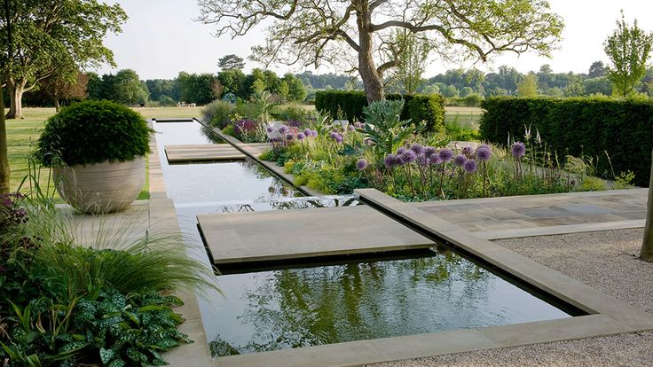 Garden with rill cotswold taverna, gloucestershire