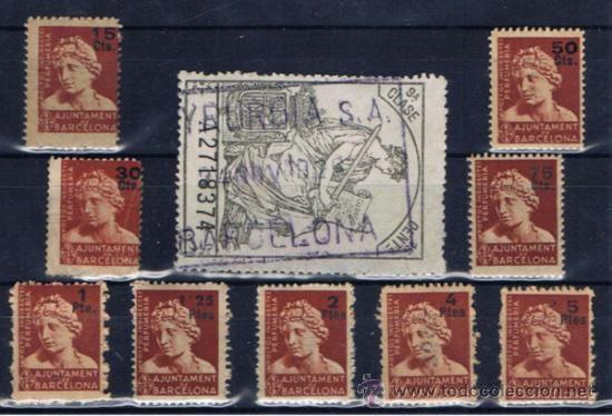 FECHADOR PERFUMERIA MYRURGIA SA 1929 Y SELLOS IMPUESTOS PERFUMERIA BARCELONA