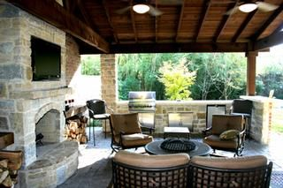 Gazebo Outdoor Kitchen with Fireplace