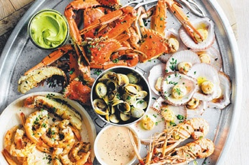 Seafood Platter on the grill