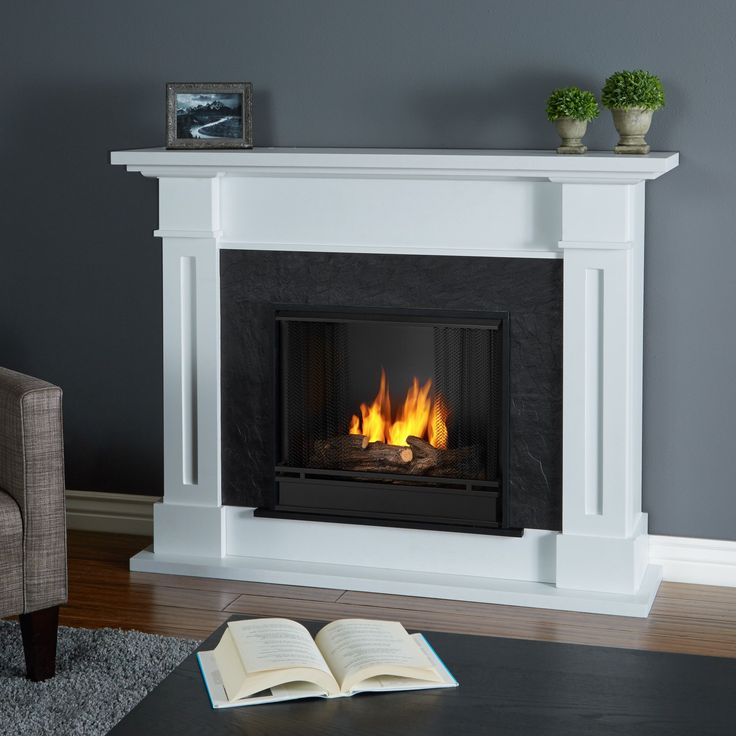 Real Flame Kipling White 53.5 in. L x 13.7 in. W x 41.5 in. H Gel Fireplace (Real Flame Kipling Gel Fireplace White) (Metal)