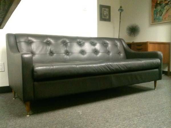 Reclaimed Mid Century Danish Modern Black Leather Sofa Measures 6ft Long  22in Wide 16 Tall | Danish Mcm | Pinterest | Black Leather Sofas, Danish  Modern And ...
