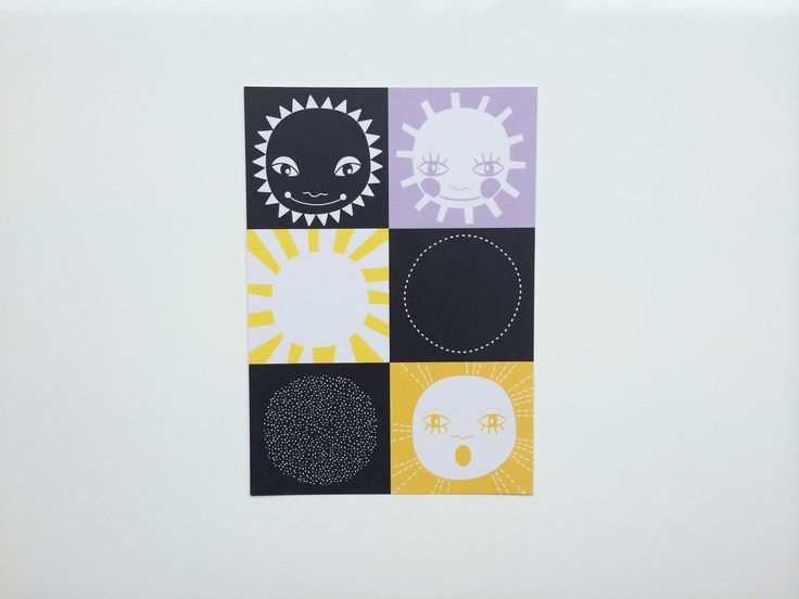 Mini Zoo Sol og goddag kort – Størrelse A5 - Tinga Tango #illustration#minizoo#børneværelse#grafisk#sol