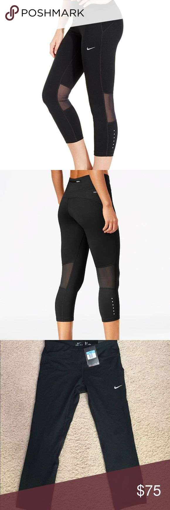 Nike epic run dri fit Capri leggings Nike epic run dri fit Capri leggings. Size medium. Brand new and never worn. Has mesh on the back. Super cute and comfortable. Retails for $75.00 plus taxes Nike Pants Ankle & Cropped