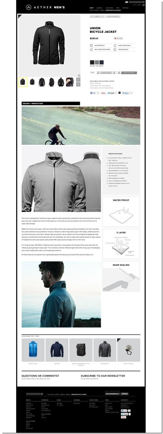 Aether Apparel ecommerce site
