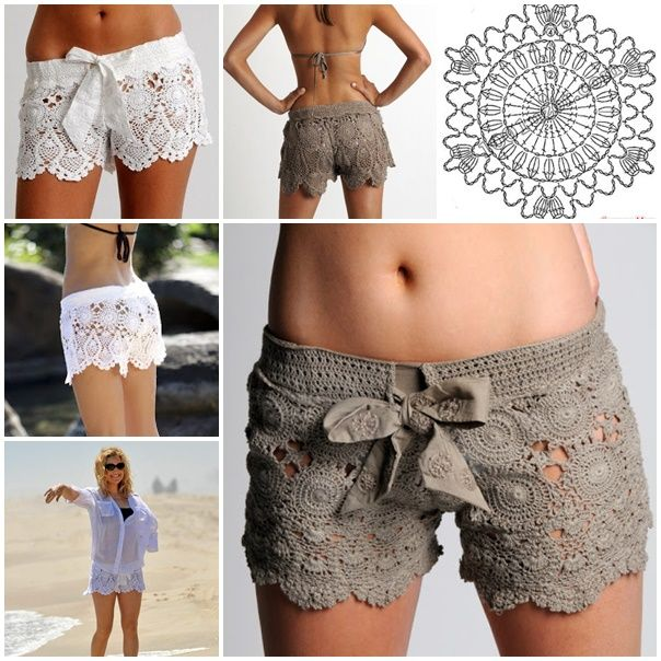 Crochet Beach Lace Shorts with Free Pattern #diy #crafts #crochet