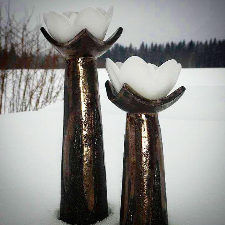 """203 Likes, 6 Comments - Sariske (@sariskesavipaja) on Instagram: """"Oh, what a day 😬😢 ... but winter is here ❄❄❄ Tekemissäni kynttilänjaloissa kauniit #lumme…"""""""