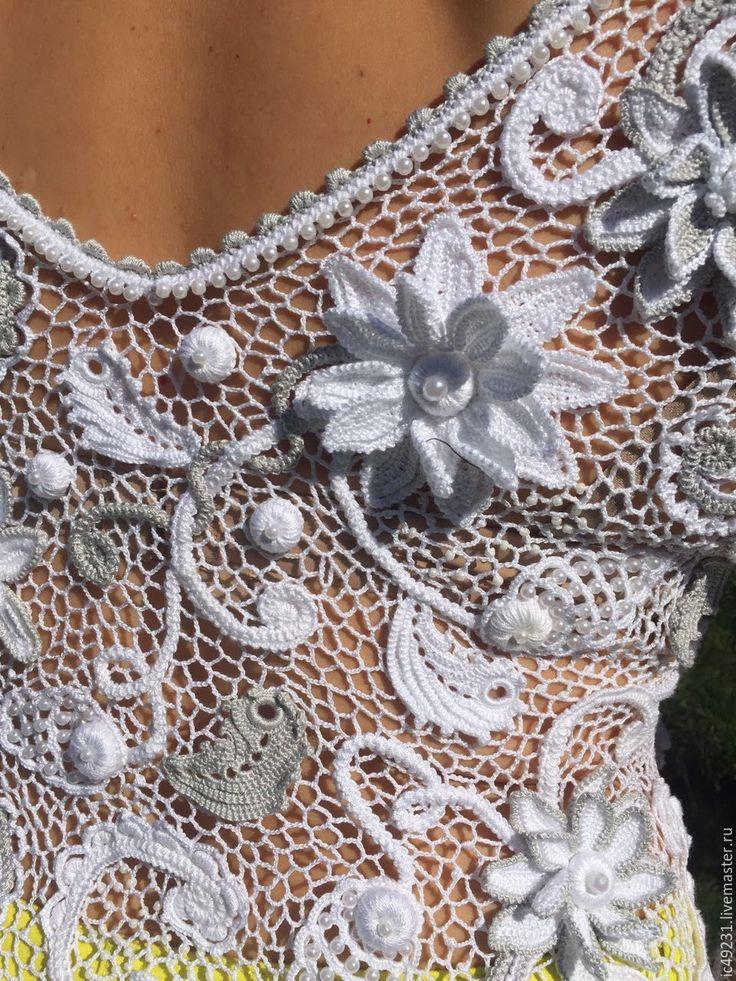 """Купить Блузка """"Джулия"""" - комбинированный, цветочный, ирландское кружево, ирландское вязание, блузка женская"""