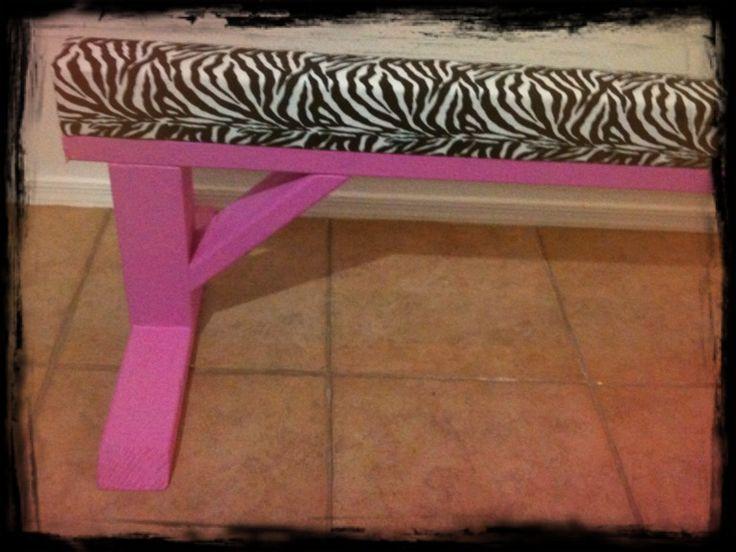 "Zebra Print Gymnastics Balance Beam on Hot Pink Legs 24"" Height"