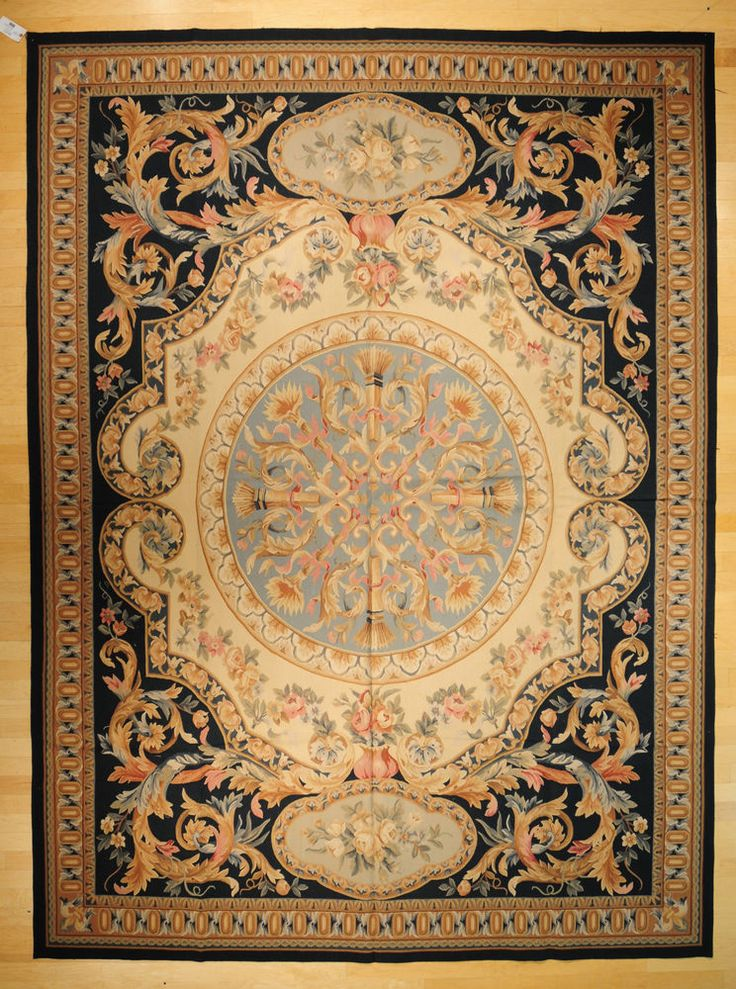 9 X12 Hand Woven Wool French Aubusson Flat Weave Area Rug