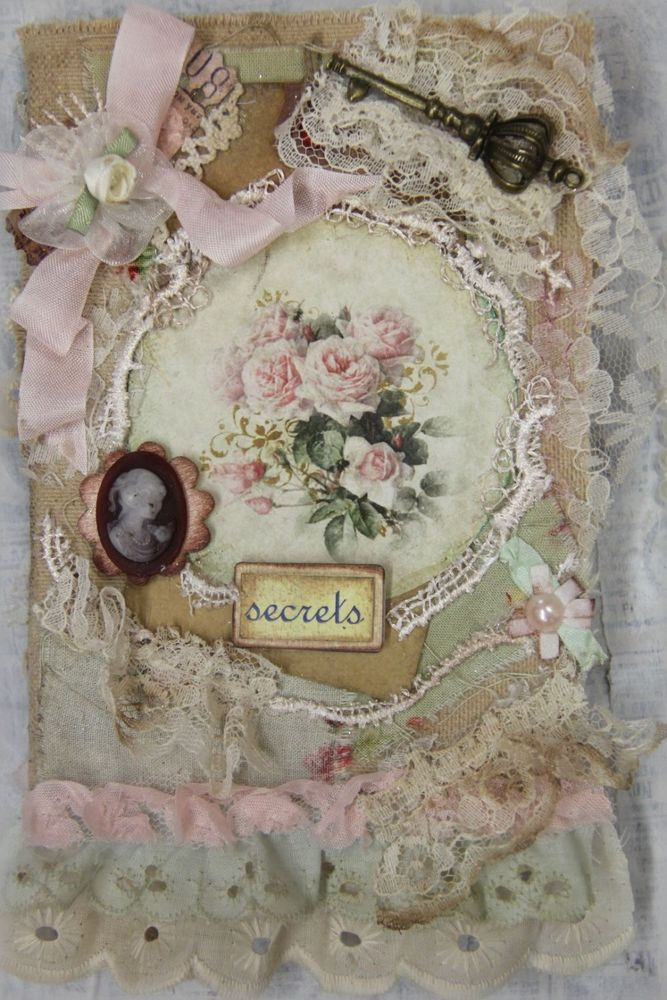 Shabby Chic Roses, OOAK, Handmade Art, Notebook, Scrapbookm, Memory Book Elite4u #Country   Guest book!? Baby scrap book?