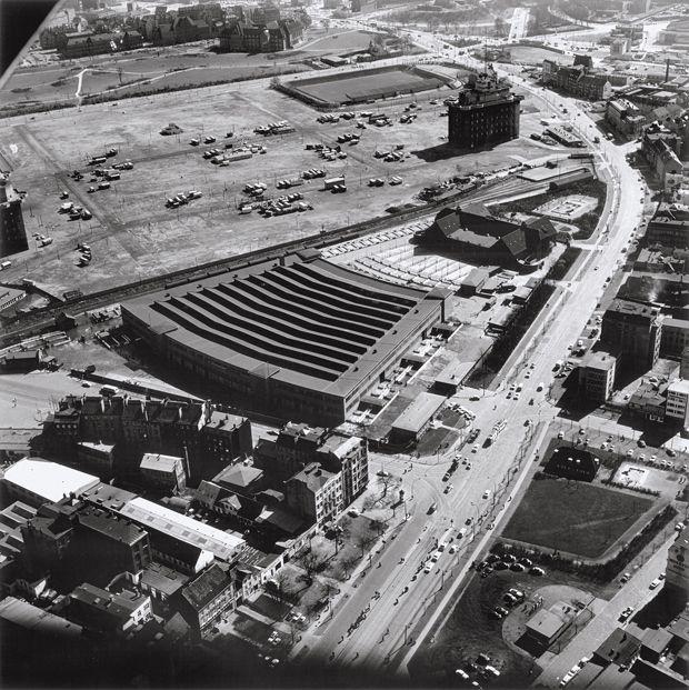 Rindermarkthalle und Heiligengeistfeld, St. Pauli, Hamburg, 1959