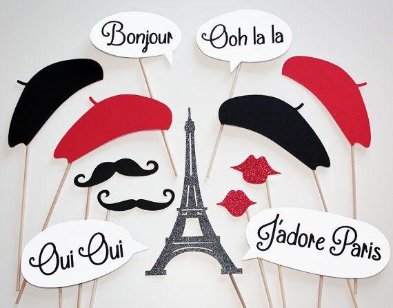 La Petite Paris Photo Booth Party Props 13 Piece by MustacheSally, $27.00