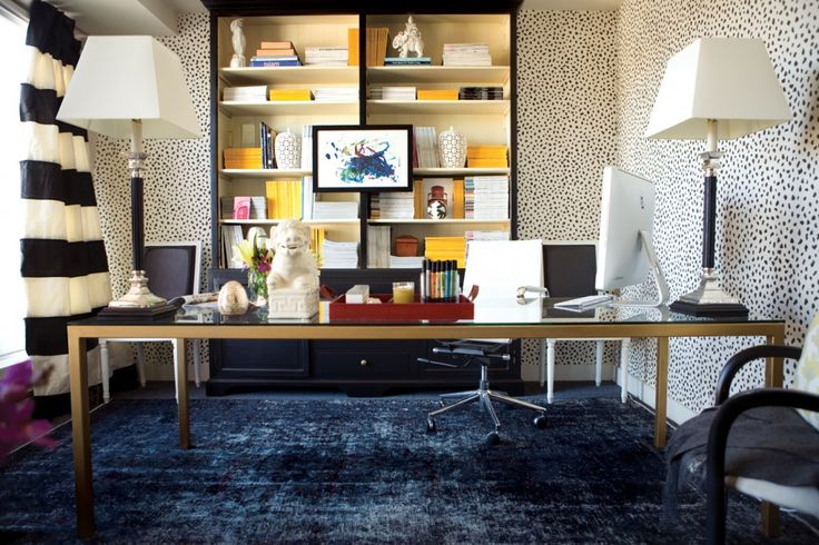 Meredith Heron - love the wallpaper, carpet, bookcases and draperies