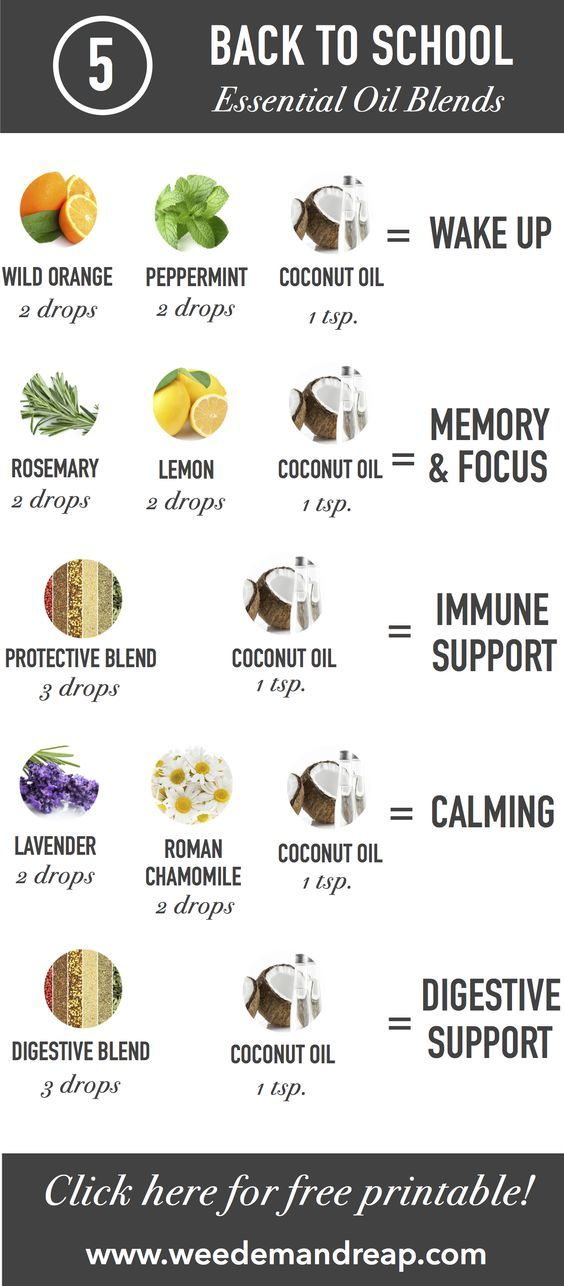 "5 Back to School Essential Oil Blends. There are a few ways to send these back to school essential oil blends with your kids. You can either pre-make these blends and put them in roll-on bottles (you'll have to multiply the recipes by 10 to fill up the bottles), or if you don't think your kids will want to apply them at school (""SO embarrassing, Mom!!""), you can try a diffuser necklace or bracelet, or even try these essential oil sniffers."