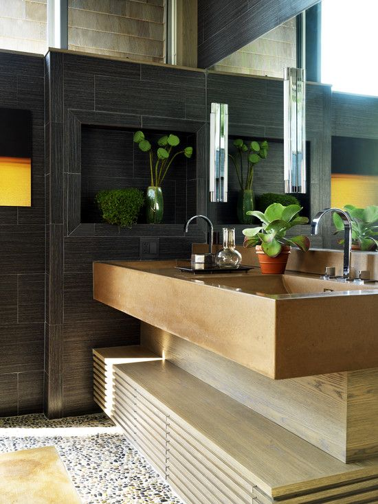 Bathroom Design, Cool Contemporary Bathroom With Unique Bathroom Vanities Design And Modern Sink And Modern Faucet And Mixer Tap Design Also Modern Bathroom Mirror Design Without Frame Also Unique Wall Lights: Unique Bathroom Mirrors for an Ultimately Outstanding Bathroom