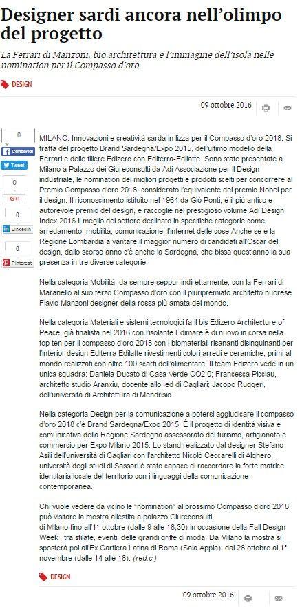 La Nuova Sardegna, 9 ottobre 2016 #docentiAaA #NicoloCeccarelli #DADU