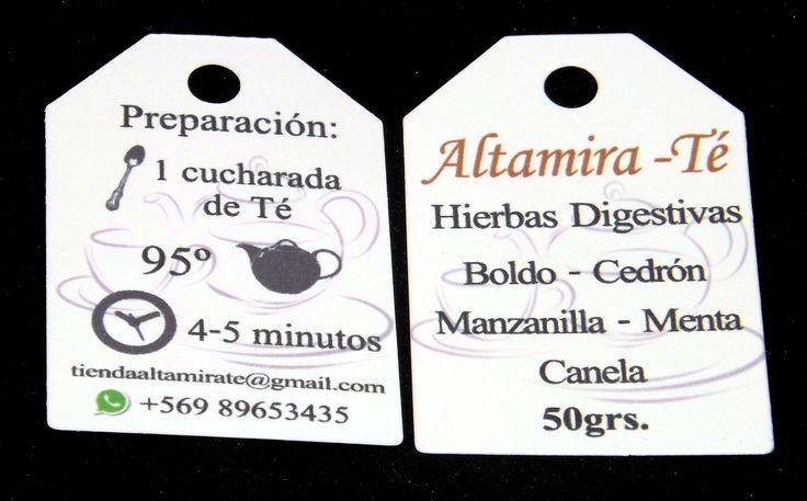Etiquetas para Altamira-Té Diseños e Impresiones Peña #dimpena #valparaiso #chile #etiquetas #tag