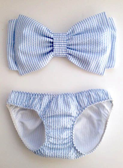 Seersucker+Bow+Bandeau+and+Bikini+by+amourouse+on+Etsy,+$100.00