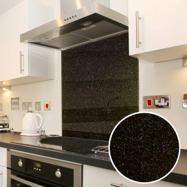 Black Granite Galaxy Glass Splashback - 60cm X 60cm - Toughened