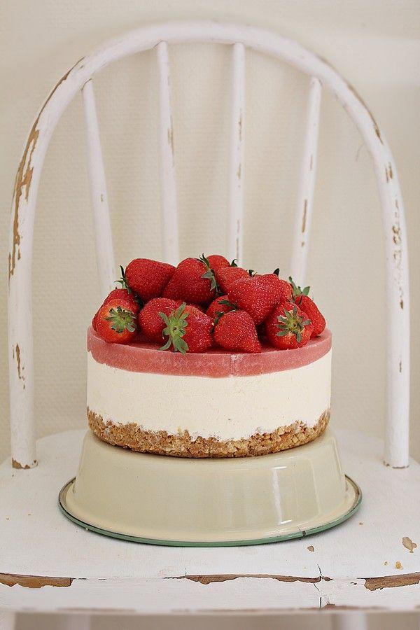 No bake rabarbercheesecake