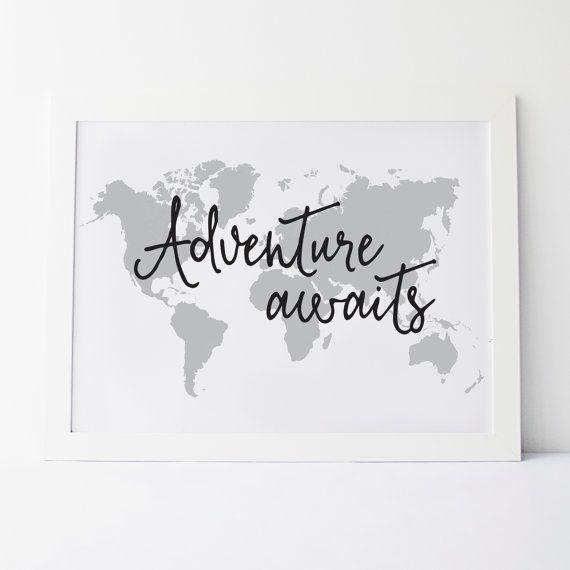 Printable Art Adventure Awaits Wall Print Map by elemenopeedesign
