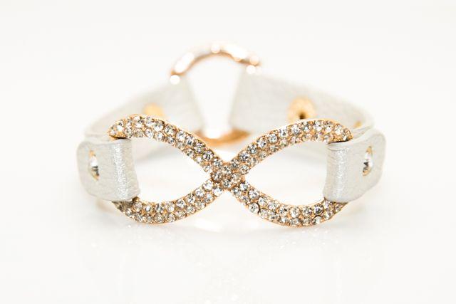 Silver Leather Studded Bracelet