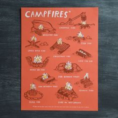 Brush up on your survival skills with this fun campfires art print depicting all the various styles of campfires! - 18 x 24 - 3 color screenprint - 8 x 10 digital - Signed and stamped