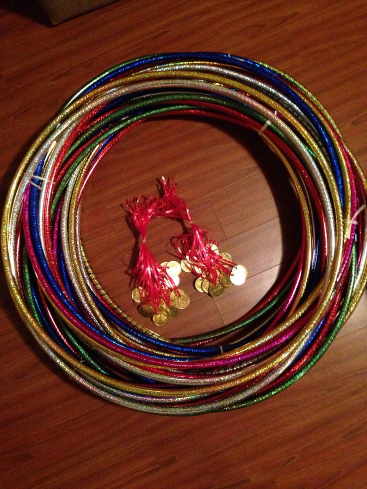 Gymnastics party favor - hula hoops and chocolate medals. use party circle tags on the chocolate coins