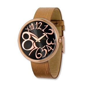 Moog Rose Plated Round Black Dial Watch w/(PM-105RG) Brown Band - SalmaWatches.com $209.95