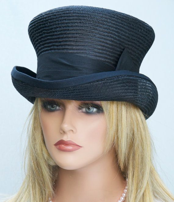 Black Top Hat Kentucky Derby Hat Formal Hat by AwardDesign on Etsy