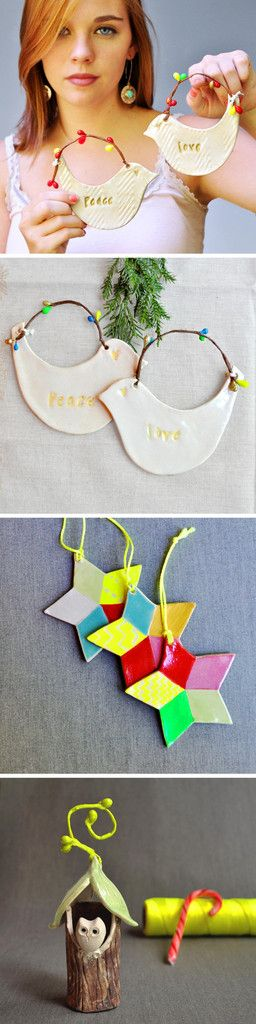 Neon Christmas ornaments from Lee Wolfe Pottery