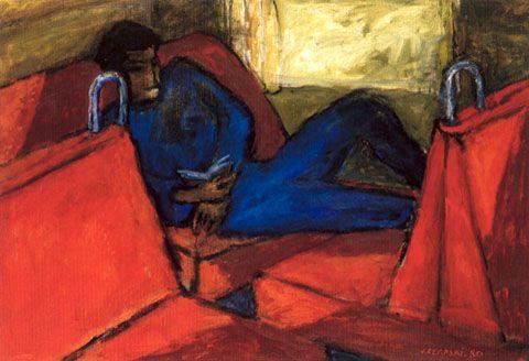J. Czapski, Giovane uomo su sfondo rosso