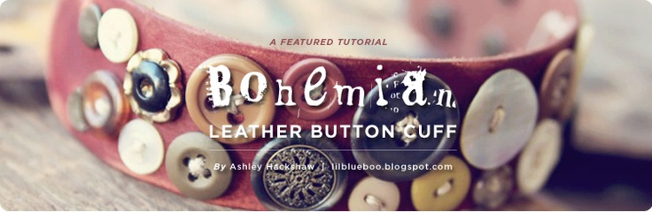 Bohemian Leather Button Cuff by Lil Blue Boo- uses our leather cuffs and leather dyes for a one of kind cuff.Crafts Ideas, Dharma Tutorials, Blue Boos, Buttons Mad, Kind Cuffs, Jewelry Ideas, Buttons Cuffs, Bohemian Leather, Arm Candies