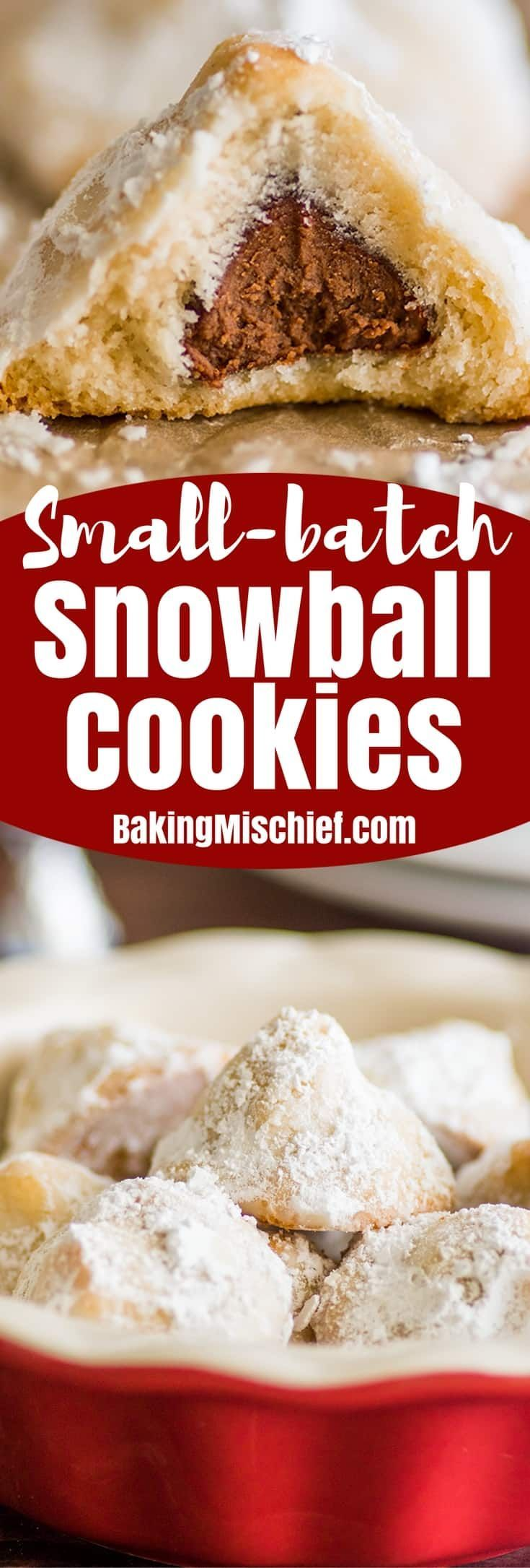 Snowball Cookies are perfect Christmas cookies. They have a cute festive name, they're super easy to make, and they're a crowd-pleaser, so everyone's happy when they show up on a cookie plate.   #Christmas   #ChristmasCookies   #Cookies   #Chocolate   #HersheysKisses  