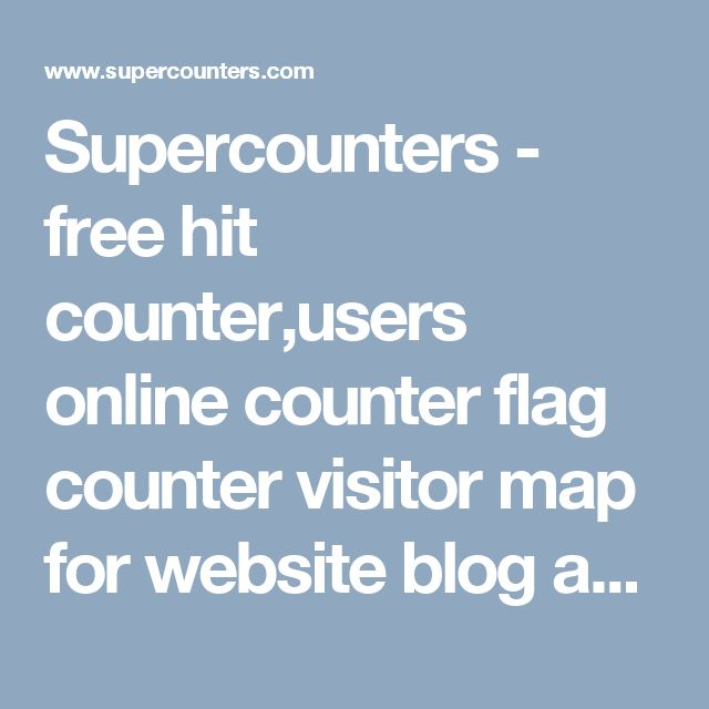 Supercounters - free hit counter,users online counter flag counter visitor map for website blog and tumblr