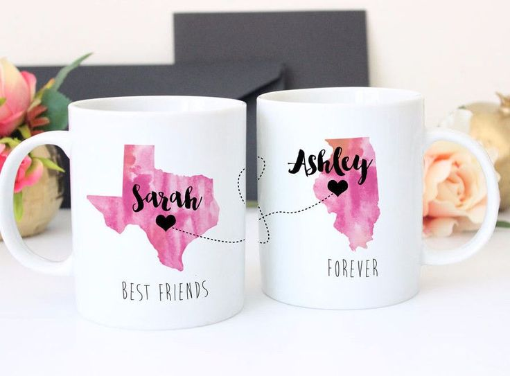 Is your best friend or sister moving away? This makes a thoughtful going away gift. Think of each other every morning with your coffee. Brighten up their morning with trendy designs in ceramic mugs. B
