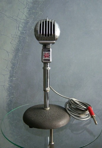 Vintage Turner 33 D microphone w Atlas stand cord R.C.A jack old deco