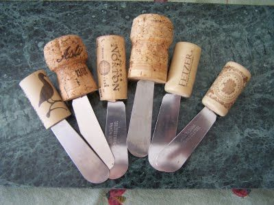 Cheese knives with wine cork handles