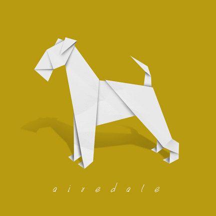 Airedale art - dog art print of origami design