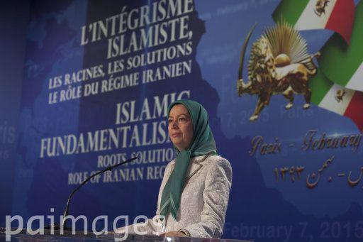 Maryam Rajavi, President-elect of the Iranian Resistance, speaks at an international conference in Paris on the 36th anniversary of the February 1979 revolution in Iran