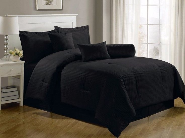 Chezmoi Collection 7-Piece Hotel Solid Dobby Stripe Comforter Set Full, Black