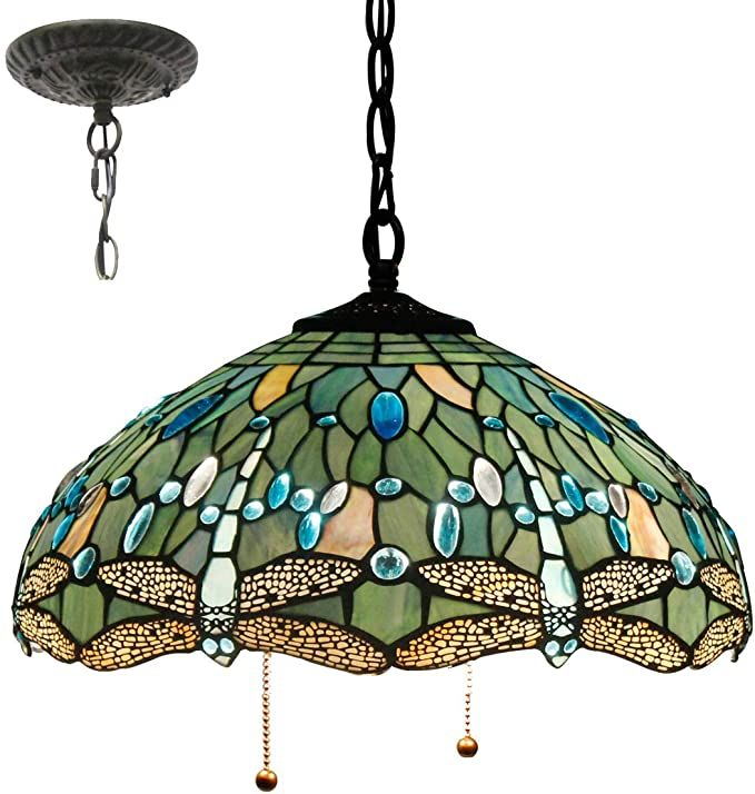 Tiffany Hanging Lamp 16 Inch Pull Chain Sea Blue Stained Glass Lampshade Crystal Bead Dragonfly Anq Tiffany Pendant Light Hanging Lamp Pull Chain Light Fixture Tiffany light fixtures ceiling