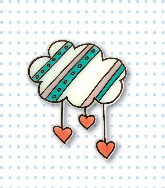 Raining hearts cloud brooch - Shrink Plastic Brooch - Cloud brooch Bijou en plastique fou / plastique dingue