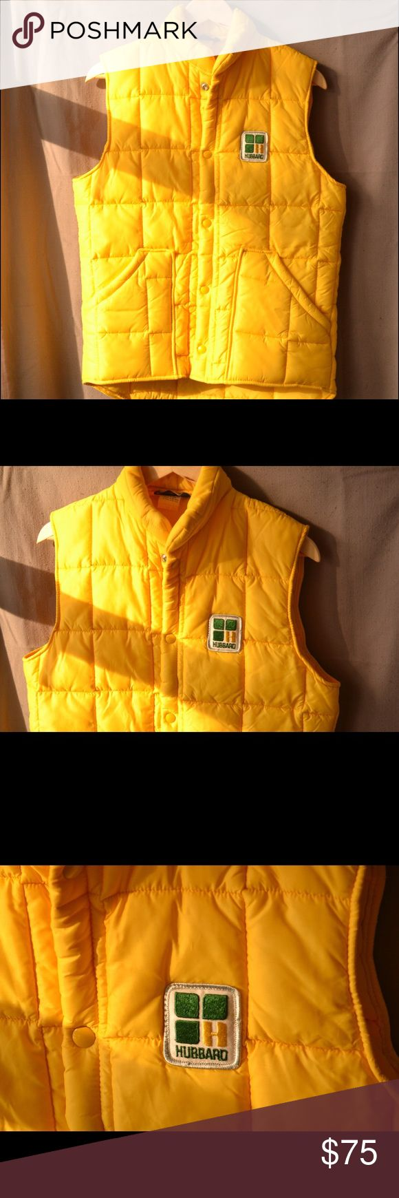 70's / Vintage Time Capsule Hubbard Yellow Vest, S This speaks for itself, perfectly preserved like it came from a time capsule--should be in a fashion museum. Not a single mark on it. Killer Hubbard patch. Made in the U.S.A. Vintage Jackets & Coats Vests