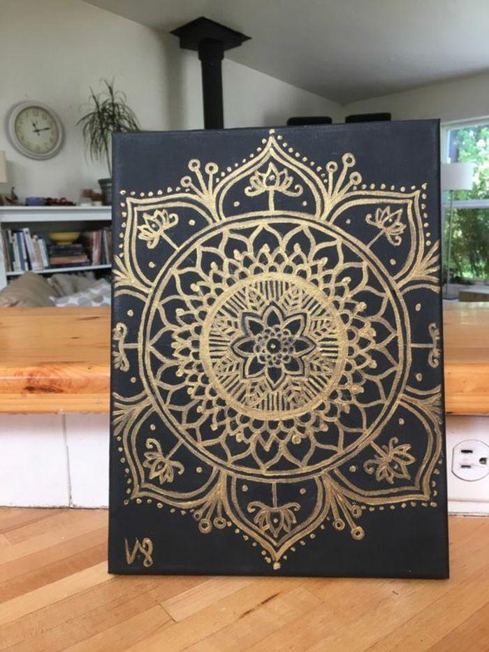 marokkanische lampen dekorationen arabisch mandala malerei goldene farbe auf schwarze platte schönes bild deko